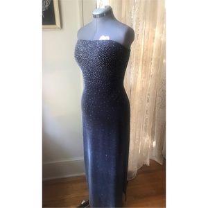 Stunning 90s dark grey, strapless velvet dress